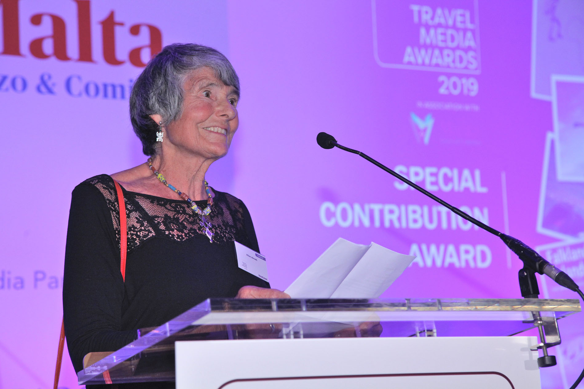 Hilary Bradt accepting the Special Contribution Award at the Travel Media Awards 2019.